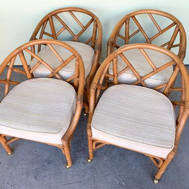Set of Four Ficks Reed Rattan Chippendale Chairs