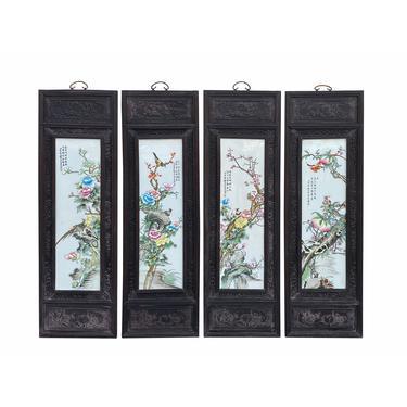 Chinese Color Porcelain Flower Birds Wood Wall Panels 4 Pieces Set cs7007E by GoldenLotusAntiques