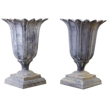 Pair of French Neoclassical Tulip Form Garden Urn Planters by ErinLaneEstate