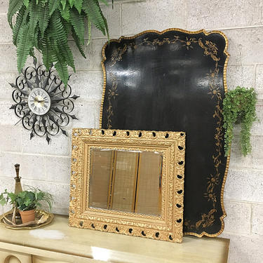 LOCAL PICKUP ONLY Vintage Table Top Retro 1950s Rectangular Black Wooden Table Top + Carved + Curved Gold Edges + Gold Painted Floral Trim by RetrospectVintage215