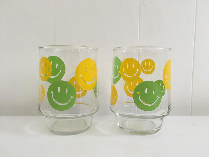 Vintage Smiley Face Glasses Set of Two (2) Juice Glass 1970s Cup Classic Happy Smile Novelty Yellow Green Kawaii Kitsch Retro 70s by CheckEngineVintage