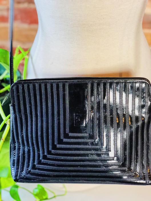 Vintage 1970s 1980s Fendi Logo Designer Patent Leather Clutch Crossbody Bag by KeepersVintage
