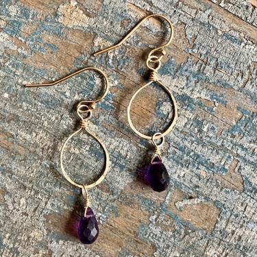 Luna Earrings / 14k Gold Filled with Amethyst Gemstone Drops