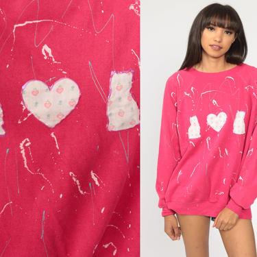 Hand Painted Cat Sweatshirt Pink Kitten Sweater 80s Animal Vintage Raglan Sleeve 90s Graphic Novelty Print Kawaii Large by ShopExile