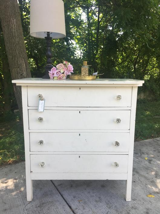 Vintage French Country/Shabby Chic Four Drawer Chest