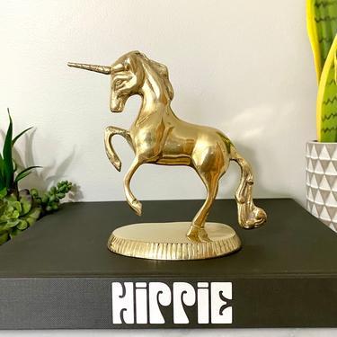 Vintage Brass Unicorn Figurine by SeaweedSalvage