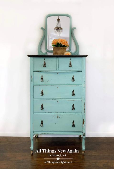 Blue Dresser with Mirror | Aqua Dresser | Light Blue Chest of Drawers | Milk Paint Chippy Dresser | Shabby Chic Dresser | Coastal Bedroom by AllThingsNewAgainVA