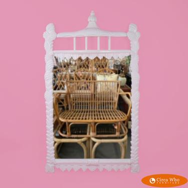 White Serge Roche Style Pagoda Mirror