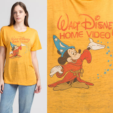 80s Walt Disney Home Video T Shirt - Large   Vintage Rare Mickey Mouse Paper Thin Burnout Graphic Tee by FlyingAppleVintage