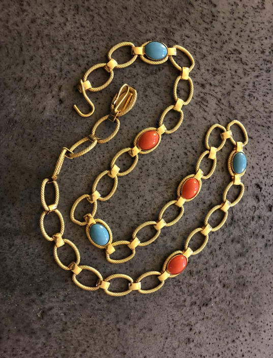 90s cabochon gold chain link belt / vintage gold adjustable colorful chain belt | fits XS - L by RecapVintageStudio