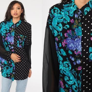 Polka Dot Blouse 90s Sheer Chiffon Sleeve Floral Top Black Flower Print Button Up Shirt Romantic Vintage Long Sleeve Bohemian Large L by ShopExile