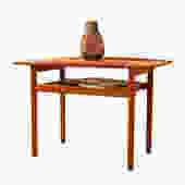 Grete Jalk Teak End \/ Accent Table with Raised Lip Top + Slatted Shelf