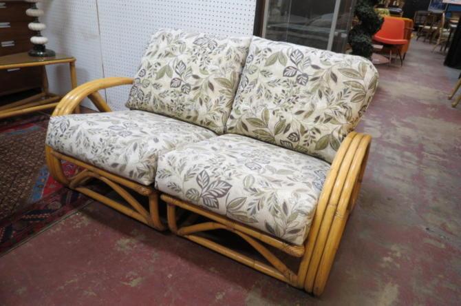 Vintage Mid century modern rattan love seat, c1960