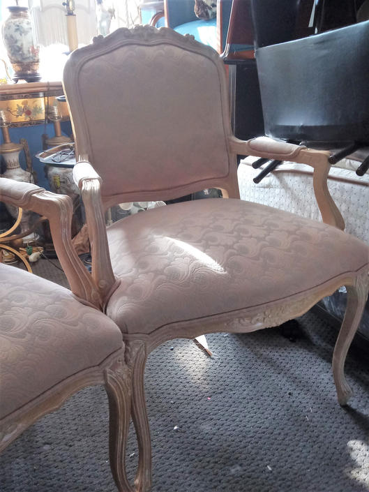 Pair French Bergere Arm Chairs Carved Country Hollywood Regency Victorian Louis XII French Country Decor(Sold as Pair) by 3GirlsAntiques