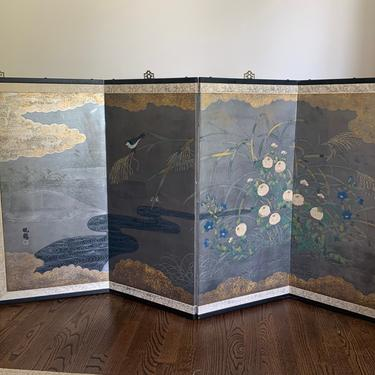 Vintage Japanese 4 Panel Byobu Screen Asian Screen Bird Flower Design by TheFINDstuff4thehome