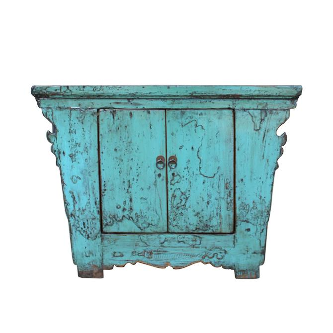 Chinese Rustic Rough Wood Distressed Aqua Blue Side Table Cabinet cs5343S