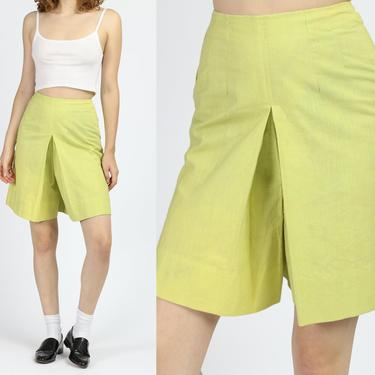 60s Bright Green Pantskirt - Extra Small | Vintage High Waisted Culotte Shorts Skort by FlyingAppleVintage
