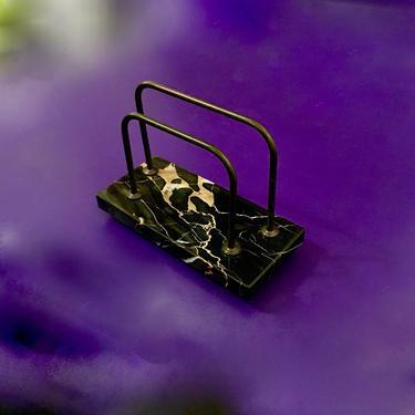 A Fine Vintage Mid Century Modern Italian Brass & Marble Desk Top Letter Holder by modern2120