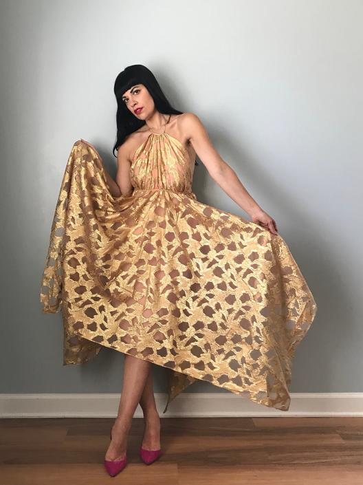 Vintage 60s Gold Metallic + Peach Nude Halter Neck Party Dress by SpeakVintageDC