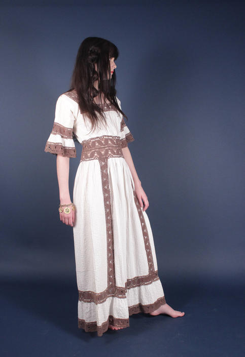 60s White Brown Crochet Mexican Wedding Dress | Boho Hippie Festival Dress | Small by AmericanDrifter