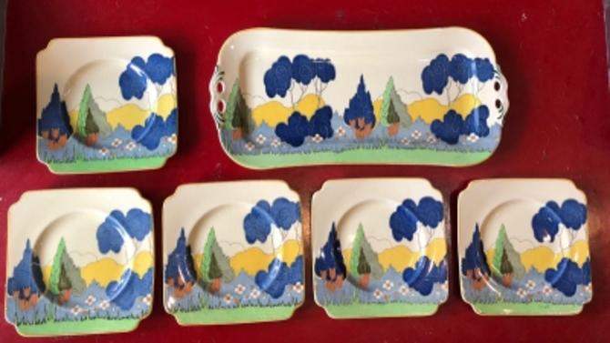 Royal Doulton Arcady Pattern Cypress Trees Tray and Plates Pottery Arts and Crafts Style