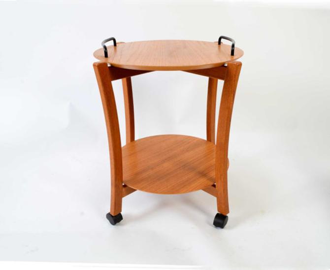 Teak  Bar Cart Rolling tea cart  butlers tray danish modern NEA 1970 by HearthsideHome