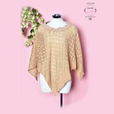 1970's Beige Crochet Vintage Poncho Shawl Hippie Boho Disco, Coat Jacket Blouse Top Shirt by Boutique369