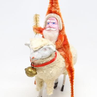 Antique Santa on German Sheep,  Vintage Toy for Christmas Putz or Nativity, Hand Painted Clay Face, Retro Decor, Faux Feather Tree by exploremag