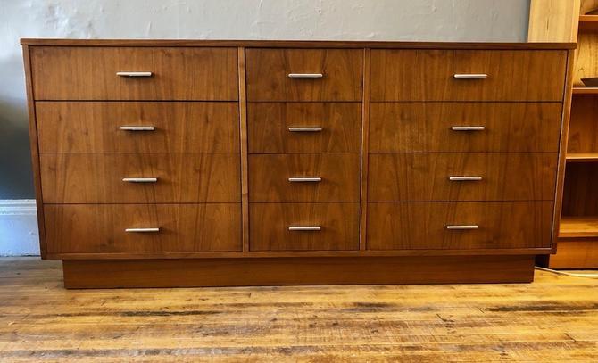 1970's Walnut 9 Drawer Dresser by Dixie