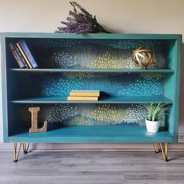 Midcentury modern bookcase. MCM shelf. Shelving unit. Teal contemporary storage. by LuebeckCreations