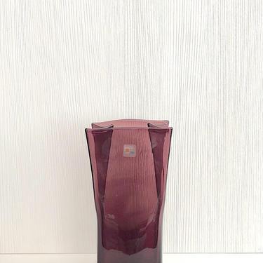 "Vintage BLENKO 10"" Tall Amethyst Purple Art Glass Paper Bag Vase with Sticker Label by SwankyChaperooo"