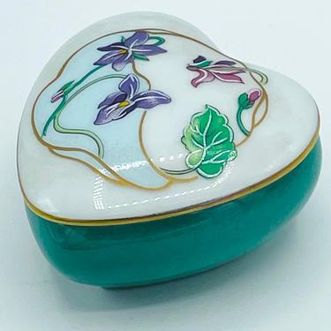Vintage Limoges France CASTLE Heart Shaped Trinket Box- Purple Iris Flowers Teal Bottom by JoAnntiques