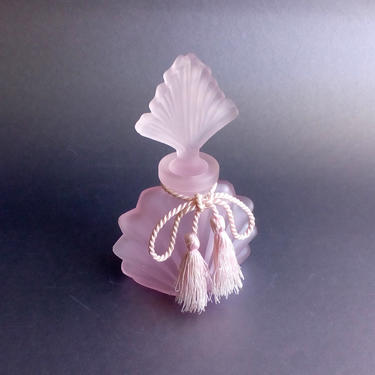 Pink frosted glass perfume bottle Art Deco perfumer Collectible perfumers  Vintage vanity decor by BelleCosine