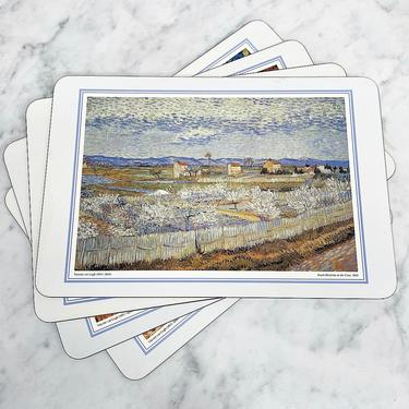 Vintage Placemats Retro 1980s Van Gogh + Landscape + Scenic Paintings + Set of 4 + Cork Backing + Table Mats + Home and Table Decor by RetrospectVintage215