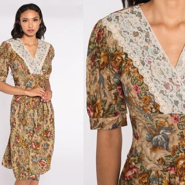 80s Floral Dress Granny Dress Midi PLEATED V Neck Lace Boho Wrap Dress Vintage 1980s Short Puff Sleeve Low Waisted Romantic Small by ShopExile