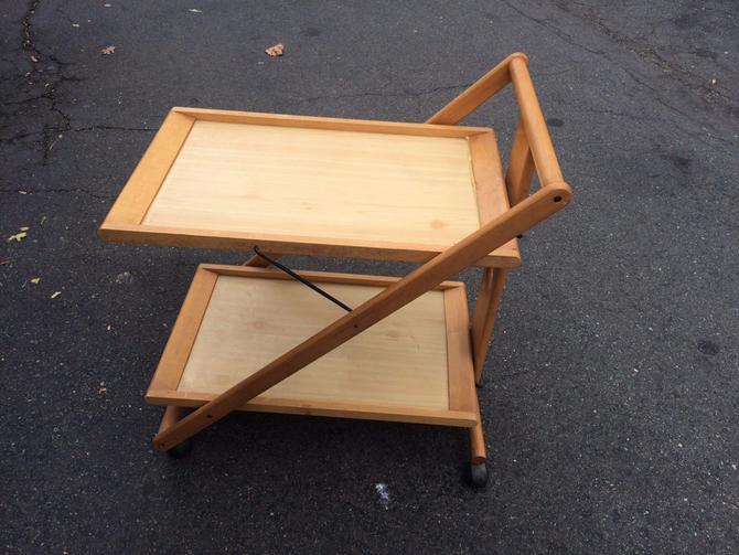 Folding 2 Tier Modernist Bar Cart Mid Century
