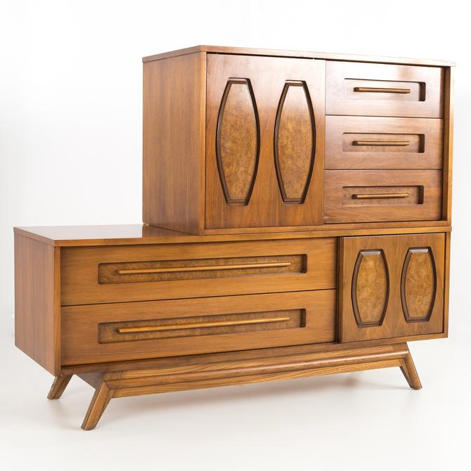 Young Manufacturing Mid Century Walnut Two Tier Lowboy Dresser Chest - mcm by ModernHill