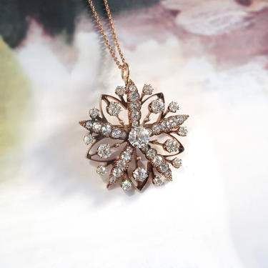 Victorian 4.10ct t.w. Antique Old European Cut Diamond Starburst Brooch Pendant Hidden Bale 14k Gold by YourJewelryFinder