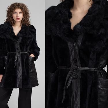70s Leather Faux Fur Trim Trench Coat - Large | Vintage Belted Black Button Up Jacket by FlyingAppleVintage
