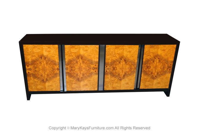 Mid Century Milo Baughman Style Burl Dresser Credenza by Marykaysfurniture