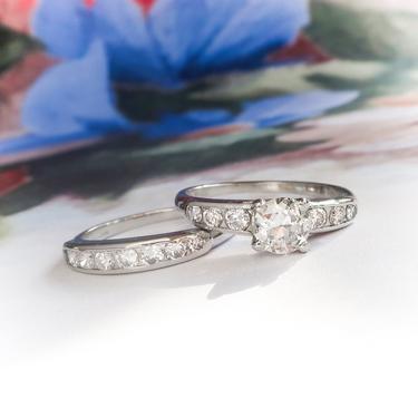 Vintage Orange Blossom 1.15ct.tw. Diamond Bridal Engagement Wedding Ring Set Platinum by YourJewelryFinder