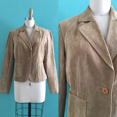 vintage suede tan jacket //  fitted  leather blazer by HarlowsVintage