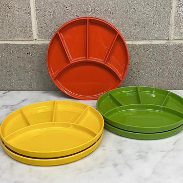 Vintage Fondue Plate Set Retro 1970s Elco Industries + Plastic + Red + Green + Yellow + Set of 6 + Round + Divided Dish + Kitchen Decor by RetrospectVintage215