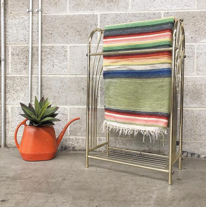 LOCAL PICKUP ONLY ----------- Vintage Gold Metal Towel Rack by RetrospectVintage215