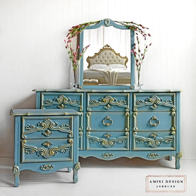 SOLD - Dresser Set - Beautiful Blue Dresser, Mirror & Nightstand by AminiDesignAshburn