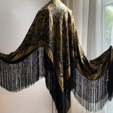 1920'S Silk Lame' SHAWL with Fringe - Lame' Piano Shawl - All Silk  - Gold Lame' Woven Floral Pattern with Butterfies - Large 94 Inch Square by GabrielasVintage