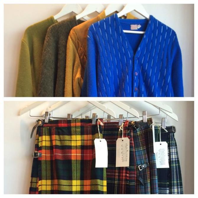 New in: find your pair of #vintage classics for fall  fuzzy vtg 1960s #cardigans & plaid #kilts for all Phone orders: 202-265-6546#fallwardrobe #backtoschool #clueless #twinpeaks #mohair #knits #unisex #dcfashion #preppy #admo  #meepsdc