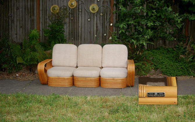Mid-Century Paul Frankl for Tochiku Japan 3 piece 9 Band Stacked Sectional 6 Band Arms Pretzel Style Rattan Sofa ~ Original Metal Labels EUC by YesterdayAndTomorrow