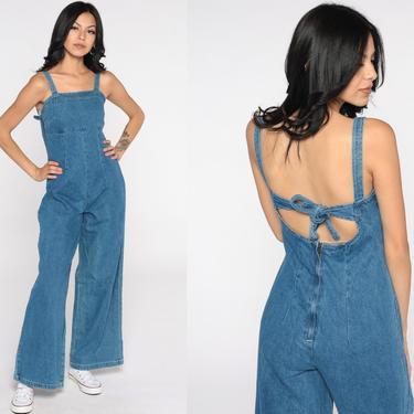 Denim Bell Bottom Jumpsuit Y2K Jean Jumpsuit 00s Does 70s Boho Backless Pantsuit Flared Cutout Back Vintage Pants Romper Summer Small by ShopExile