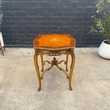 French Antique End / Side Table with Inlaid Decoration, c.1950's by VintageSupplyLA